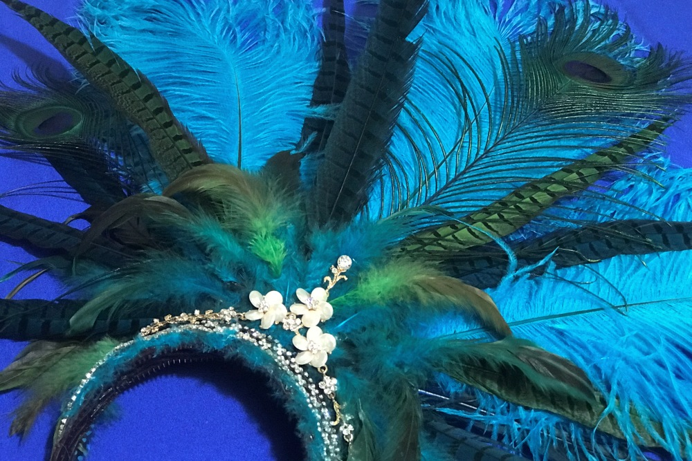 Hand-Crafted Turquoise Peacock Feathered Headdress Headpiece