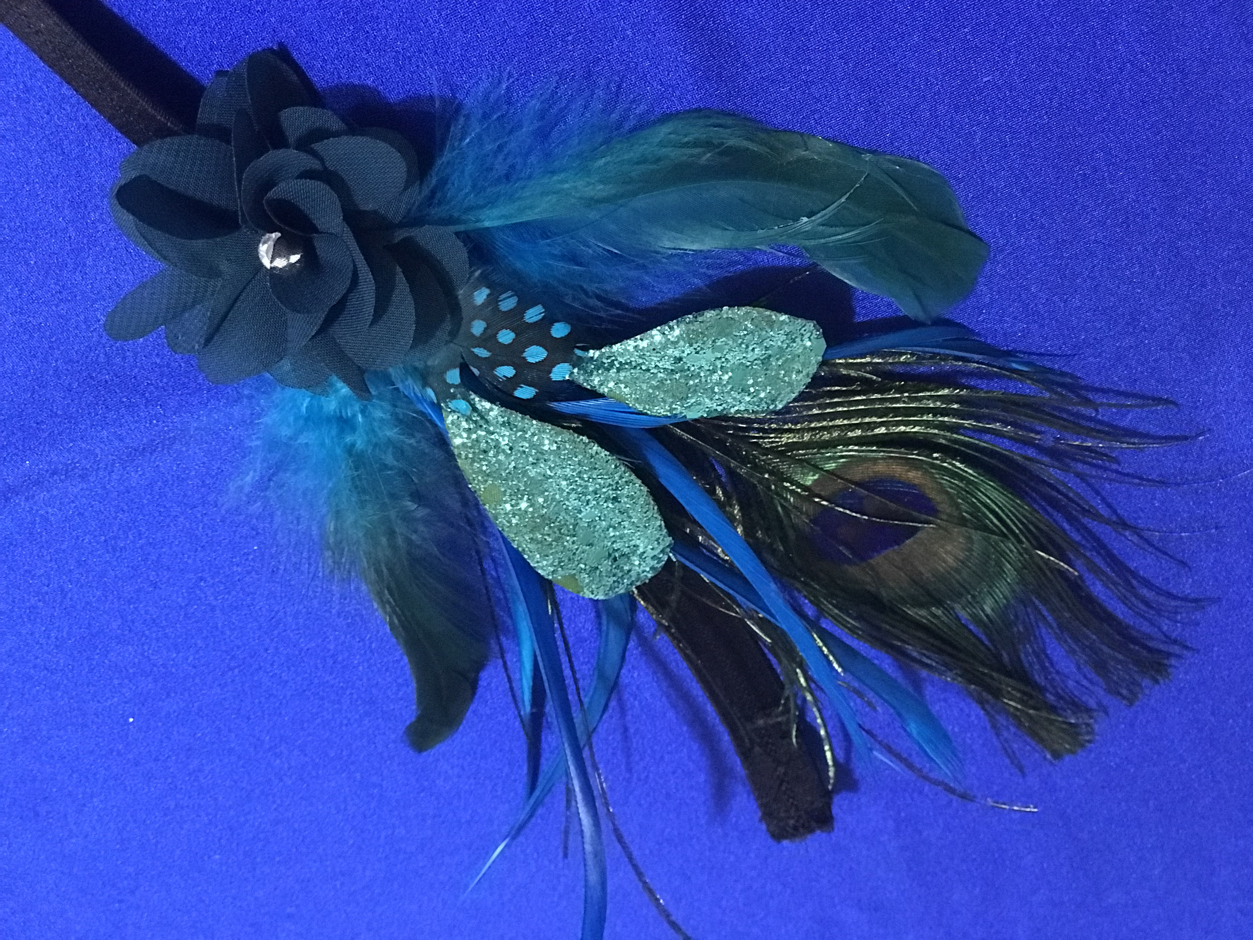 FOR SALE: Hand-Crafted Turquoise Peacock Feathered Headdress Headpiece for Carnival and Mardi Gras