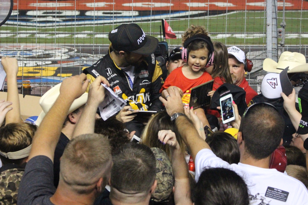 Verizon IndyCar Series Drivers Sign Autographs During Three-Hour Rain Delay at Texas Motor Speedway | Fort Worth, Texas, USA